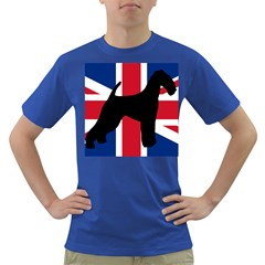 airedale terrier silhouette on flag Dark T-Shirt