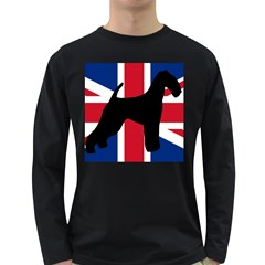 airedale terrier silhouette on flag Long Sleeve Dark T-Shirts