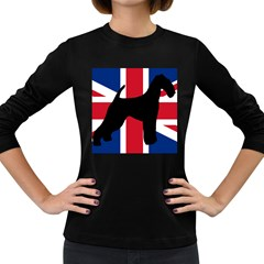 airedale terrier silhouette on flag Women s Long Sleeve Dark T-Shirts
