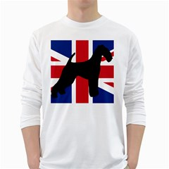 airedale terrier silhouette on flag White Long Sleeve T-Shirts