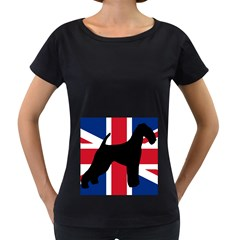 airedale terrier silhouette on flag Women s Loose-Fit T-Shirt (Black)