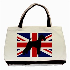 airedale terrier silhouette on flag Basic Tote Bag