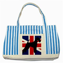 airedale terrier silhouette on flag Striped Blue Tote Bag