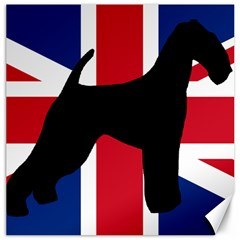 airedale terrier silhouette on flag Canvas 20  x 20