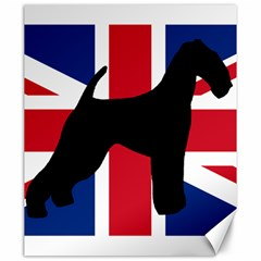 airedale terrier silhouette on flag Canvas 20  x 24