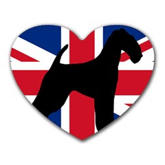 airedale terrier silhouette on flag Heart Mousepads