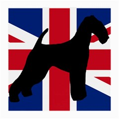 airedale terrier silhouette on flag Medium Glasses Cloth