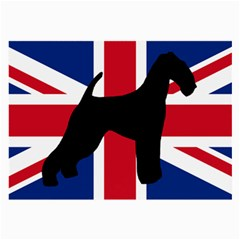 airedale terrier silhouette on flag Large Glasses Cloth (2-Side)