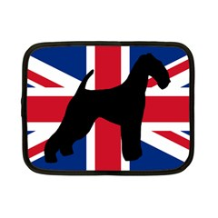 airedale terrier silhouette on flag Netbook Case (Small)