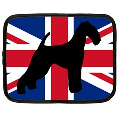 airedale terrier silhouette on flag Netbook Case (Large)