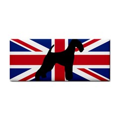 airedale terrier silhouette on flag Cosmetic Storage Cases