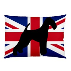 airedale terrier silhouette on flag Pillow Case