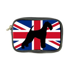 airedale terrier silhouette on flag Coin Purse