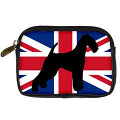 airedale terrier silhouette on flag Digital Camera Cases