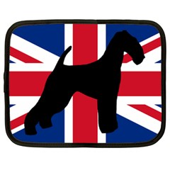 airedale terrier silhouette on flag Netbook Case (XXL)