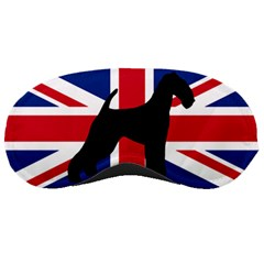 airedale terrier silhouette on flag Sleeping Masks