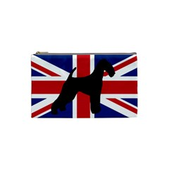 airedale terrier silhouette on flag Cosmetic Bag (Small)