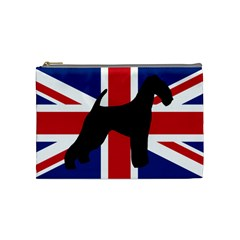 airedale terrier silhouette on flag Cosmetic Bag (Medium)