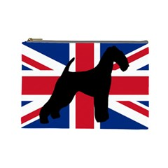 airedale terrier silhouette on flag Cosmetic Bag (Large)
