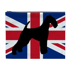 airedale terrier silhouette on flag Cosmetic Bag (XL)