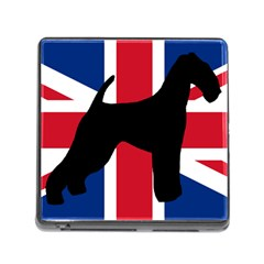 airedale terrier silhouette on flag Memory Card Reader (Square)