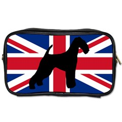 airedale terrier silhouette on flag Toiletries Bags 2-Side