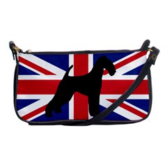 airedale terrier silhouette on flag Shoulder Clutch Bags