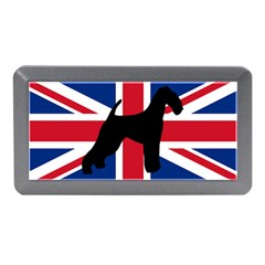 airedale terrier silhouette on flag Memory Card Reader (Mini)