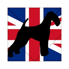 airedale terrier silhouette on flag Acrylic Tangram Puzzle (6  x 6 )
