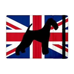 airedale terrier silhouette on flag Apple iPad Mini Flip Case