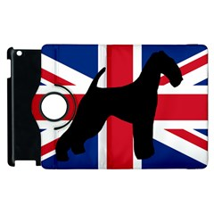 airedale terrier silhouette on flag Apple iPad 3/4 Flip 360 Case