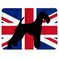 airedale terrier silhouette on flag Samsung Galaxy Tab 7  P1000 Flip Case