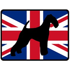 airedale terrier silhouette on flag Double Sided Fleece Blanket (Large)