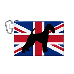 airedale terrier silhouette on flag Canvas Cosmetic Bag (M)
