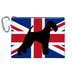 airedale terrier silhouette on flag Canvas Cosmetic Bag (XL)