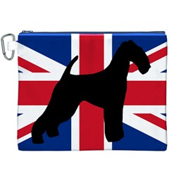 airedale terrier silhouette on flag Canvas Cosmetic Bag (XXXL)