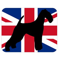 airedale terrier silhouette on flag Double Sided Flano Blanket (Medium)