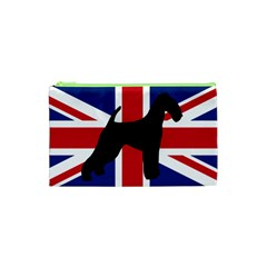 airedale terrier silhouette on flag Cosmetic Bag (XS)