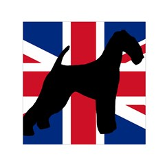 airedale terrier silhouette on flag Small Satin Scarf (Square)