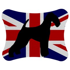 airedale terrier silhouette on flag Jigsaw Puzzle Photo Stand (Bow)