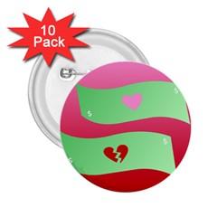 Money Green Pink Red Broken Heart Dollar Sign 2 25  Buttons (10 Pack)