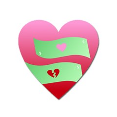 Money Green Pink Red Broken Heart Dollar Sign Heart Magnet