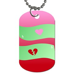 Money Green Pink Red Broken Heart Dollar Sign Dog Tag (one Side)