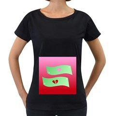 Money Green Pink Red Broken Heart Dollar Sign Women s Loose Fit T Shirt (black)