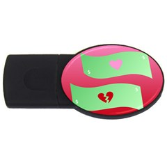 Money Green Pink Red Broken Heart Dollar Sign Usb Flash Drive Oval (4 Gb)