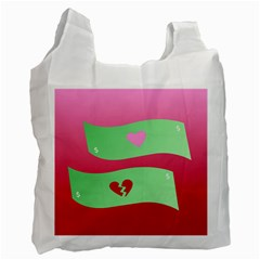 Money Green Pink Red Broken Heart Dollar Sign Recycle Bag (two Side)
