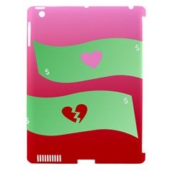 Money Green Pink Red Broken Heart Dollar Sign Apple iPad 3/4 Hardshell Case (Compatible with Smart Cover)