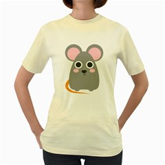 Mouse Grey Face Women s Yellow T Shirt