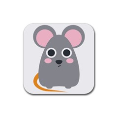 Mouse Grey Face Rubber Coaster (square)