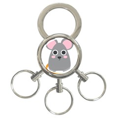 Mouse Grey Face 3 Ring Key Chains